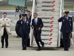 President Obama arrives at JFK International Airport in New York on Tuesday.