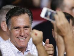Mitt Romney at a Las Vegas rally Friday, the day he released his 2011 tax return.
