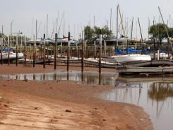 A boat harbor is nearly dry on Lake Hefner in Oklahoma City on Friday.