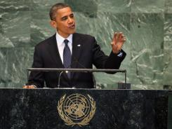 """""""There's no video that justifies an attack on an embassy,"""" President Obama says Tuesday in his speech to the United Nations."""