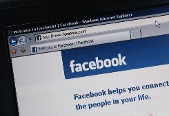 The social networking site Facebook is displayed on a laptop screen.