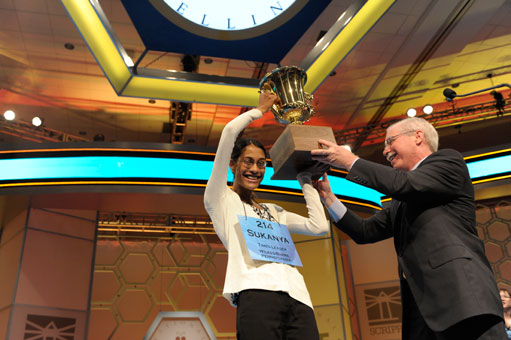 Sukanya Roy lifting the Scripps Cup