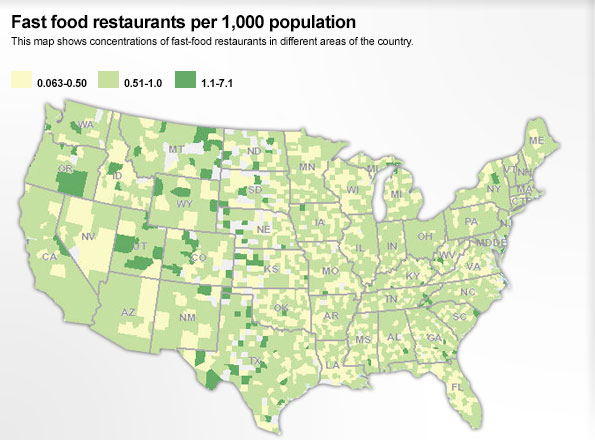 Fast Food restaurants per 1,000 population
