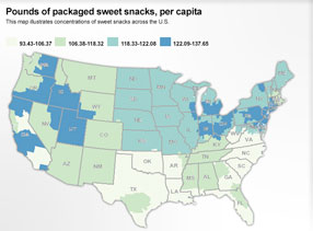 Pounds of packaged sweet snacks, per capita