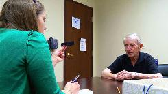 Alyssa Bergey asks Peter Kenney, 78, to identify a comb during a memory and cognitive exam at Johns Hopkins Memory & Alzheimer's Treatment Center in Baltimore.