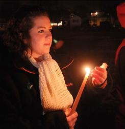 Candlelight vigil: Students at South Hadley High School in Massachusetts mourn freshman Phoebe Prince, who hanged herself at home in January.