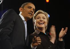 2008 candidates: Presidential hopefuls Barack Obama and Hillary Clinton at one of their debates.