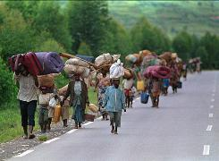 Escape: Rwandan refugees flee the government-sanctioned genocide in 1994.