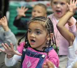 A class of 3-year-olds learning to count in Worcester, Mass.