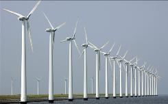 Outside the U.S.: Wind turbines stand clustered offshore in Dronten, the Netherlands. The U.S. approved Massachusetts' Cape Wind last month.