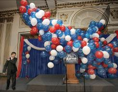 Trent Burns, 12, pulls the string for the balloon drop that did not happen after his father, Republican Tim Burns, conceded to Democrat Mike Critz in the special election on Tuesday in Pennsylvania.