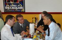 Russian President Dmitry Medvedev and President Obama eat hamburgers during lunch at Ray's Hell Burger last Thursday in Arlington, Va.