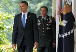 Call for unity after shake-up: President Obama and Gen. David Petraeus at the White House last week.