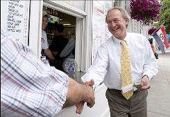 Republican turned independent: Former senator Lincoln Chafee campaigns for governor in Warwick, R.I. He left the GOP in 2007. 