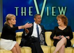 Obama on 'View': With Barbara Walters, left, and Joy Behar.