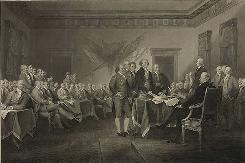 July 4, 1776: The adoption of the Declaration of Independence, as painted by J. Trumbull. The Constitution, after state ratifications, was effective 1789.