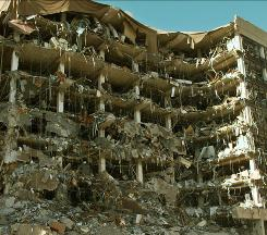 The shattered Alfred P. Murrah Federal Building in downtown Oklahoma City, in this file photo shot April 19, 1995.