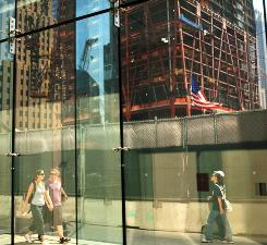 Building at Ground Zero: The construction site for One World Trade Center on Wednesday in New York City.