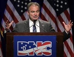 Gearing up for November: Democratic National Committee Chairman Tim Kaine in St. Louis.