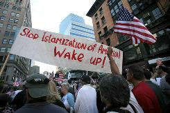 9/11 anniversary: Protest against a proposed Islamic community center two blocks from Ground Zero.