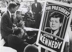 Campaigning in 1960: Sen. John F. Kennedy campaigns for president. The 50th anniversary of the first televised presidential debate was Sunday.