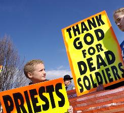 At Snyder funeral: Protesters at the 2006 demonstration led by the Rev. Fred Phelps.