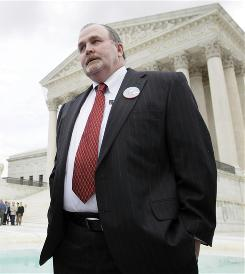 Marine's father: Albert Snyder of York, Pa., at the Supreme Court Wednesday in Snyder v. Phelps.