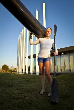 New to Oklahoma City: Jen Burke, a sprint kayaker, has moved there from San Diego.