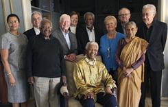 The Elders: Standing around Nelson Mandela are, from left, his wife, Graca Machel, Fernando Henrique Cardoso, Desmond Tutu, Jimmy Carter, Mary Robinson, Kofi Annan, Gro Brundtland, Martti Ahtisaari, Ela Bhatt and Lakhdar Brahimi.