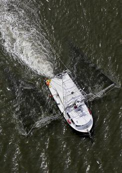 After the oil spill: A shrimp boat sails on Barataria Bay, La., in August.