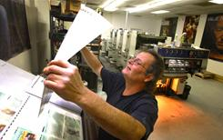 Printing press: James Scott of Hermitage, Tenn., knows his industry is dying.
