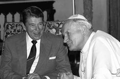 In 1987: President Reagan meets with Pope John Paul II in Miami.