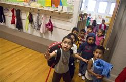 Pre-kindergarten children head home after a day of class at a Head Start school outside Caldwell, Idaho.
