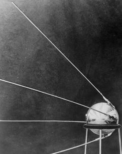 Soviet satellite: Sputnik I was launched in October 1957.