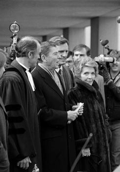 Inauguration Day: President-elect Ronald Reagan and his wife, Nancy, attend the National Presbyterian Church in Washington on Jan. 18, 1981. After he was shot, his church days were irregular.