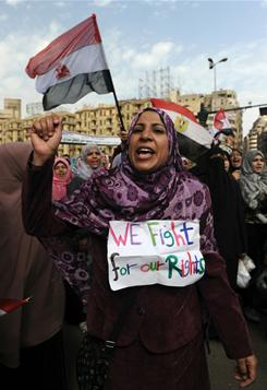 Tahrir Square: Anti-Mubarak protesters continue to demonstrate Sunday in Cairo.