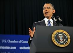 Obama: Speaking at the US Chamber of Commerce.