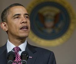 President Obama speaks in the Grand Foyer at the White House iafter the resignation of Egyptian President Hosni Mubarak.