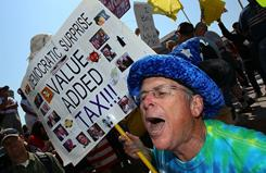 Tax day protest: Kevin McCracken joins a Tea Party demonstration in Washington on April 15.