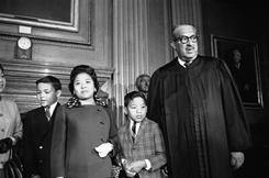 Making history: Supreme Court Justice Thurgood Marshall takes his seat at the court for the first time.
