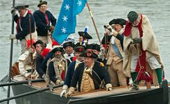 Revolution: Re-enactors bring to life George Washington's crossing of the Delaware River on Christmas day in 1776.