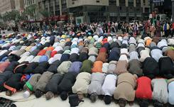 Sept. 26: Muslims pray before the American Muslim Day Parade starts in New York.