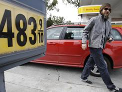 $4 what?? Phil King checks out the price of gasoline in Menlo Park, Calif., this week.