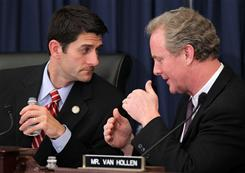 Budget leaders who disagree: House Budget Committee Chairman Paul Ryan, R-Wis., listens to ranking member Chris Van Hollen, D-Md. On Tuesday, Republicans released a 2012 fiscal plan.