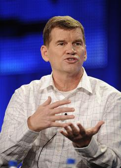 "Ted Haggard answers questions during the HBO panel for the documentary ""The Trials of Ted Haggard"" at the Television Critics Association winter press tour in Los Angeles Jan. 9."
