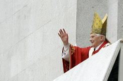 Pope Benedict XVI salutes faithful Catholics in Porto, Portugal, May 14, 2010.