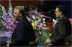 Former Celtics teammates Larry Bird, left, and Kevin McHale appear at the funeral of Dennis Johnson on Friday.