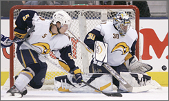 There's almost no way the Maple Leafs could score Saturday with Toni Lydman and goaltender Ryan Miller guarding the Sabres net.