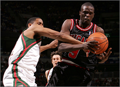 Luol Deng, right, averaged 21.8 points and 8.1 rebounds in the month of February.