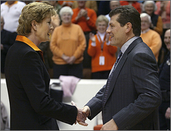Tennessee's Pat Summitt, left, and Connecticut's Geno Auriemma are among the top-paid coaches in college women's basketball.